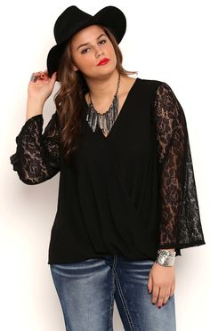 Deb Shops Plus Size Long Lace Bell Sleeves Surplice Front Top $13.25