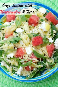 Orzo Salad with Watermelon & Feta is a colorful side dish for any summer party.