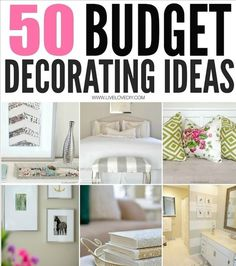 50 Budget Decorating Ideas...For more creative tips and ideas FOLLOW https://www.facebook.com/homeandlifetips