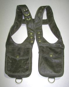 Darkwear Clothing Unisex Olive Green Leather Double Holster Bag shoulder holster- Made to Order. $165.00, via Etsy.