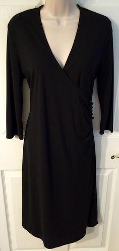 Isaac Mizrahi Large Black Wrap Career VNeck Dress 3 4 Sleeves Below Knee L   eBay