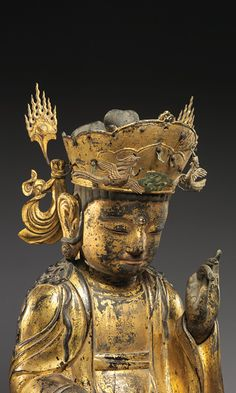 Seated bodhisattva (left attendant of a triad), ca. mid-17th century. Joseon dynasty (1392–1910). Korea. Gilt wood. The Metropolitan Museum of Art, New York, Mary Griggs Burke Collection, Gift of the Mary and Jackson Burke Foundation, 2015