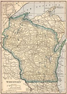 Midwest US Map From The Wisconsin Digital Map Library - Wisconsin us map
