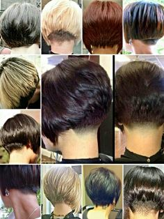 Hair Beauty - Collage of nape options for short bob haircuts - various sources Pixie Hairstyles, Cute Hairstyles, Hairstyle Ideas, Medium Hairstyles, Braided Hairstyles, Wedding Hairstyles, Short Bob Haircuts, Haircut And Color, Great Hair