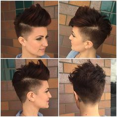 All sizes | Brunette Undercut Faux Hawk Pixie with Burgundy Highlights | Flickr - Photo Sharing!