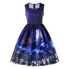 ZIYOU Weihnachtskleid Damen Ärmellos A-Linie Kleid Xmas Knielang  Cocktailkleider Vintage Elegante Rockabilly Partykleid (EU-38   CN-L,Blau f1713a5763