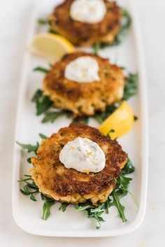 Crab Cakes with Tartar Sauce  Recipe courtesy of Tiffani Thiessen   Photography by Rebecca Sanabria