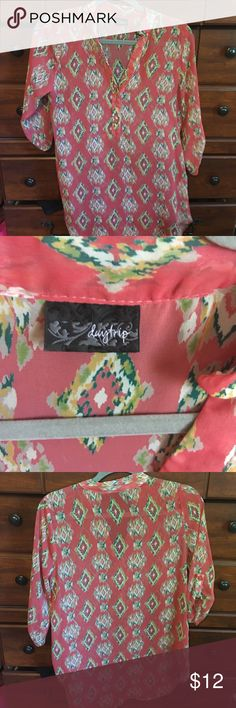 Ladies sheer coral patterned top from Buckle Worn a couple times. In very good condition!! Daytrip Tops Blouses