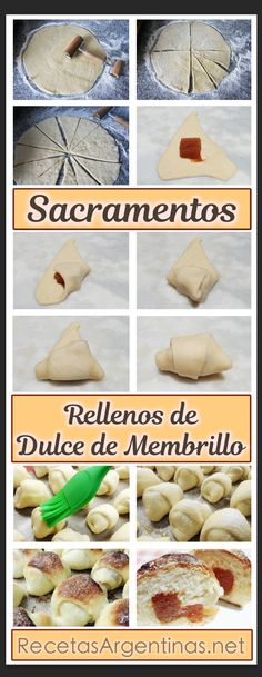 Receta para hacer estos Sacramentos Rellenos de Dulce de Membrillo Pan Relleno, Pan Dulce, Sin Gluten, Gluten Free, Cookies And Cream, Bread Recipes, Meal Planning, Bakery, Food And Drink