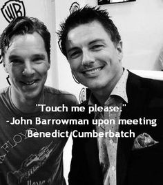 John Barrowman comedy routine after meeting Benedict Cumberbatch at SDCC. So much talent and hotness in one photo!