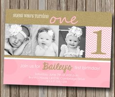 Girl First Birthday Invitation Elephant Girl Birthday Pink And - 1st birthday invitations gold and pink