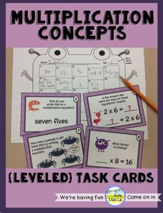 Multiplication task cards - monster theme. These cards work on the CONCEPTUAL understandings of multiplication. Leveled from x0 to x10.