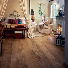 Kahrs Oak Cornwall. A natural classic country grade board with a relatively large play of colour and knots. A brushed and bevelled finish with a truely rustic feel. Engineered wood flooring at its best.