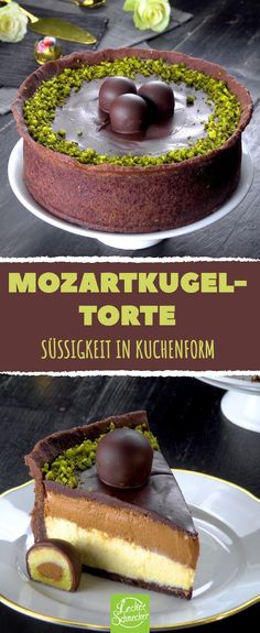 Mozartkugel-Torte - Bonbons in Kuchenform # Rezepte . - - Mozartkugel-Torte - Bonbons in Kuchenform # Rezepte . Fall Desserts, No Bake Desserts, Torte Au Chocolat, Red Wine Gravy, Naked Cakes, Best Pie, Flaky Pastry, Mince Pies, Cinnamon Cream Cheese Frosting