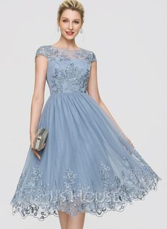 [US$ 148.00] A-Line Scoop Neck Knee-Length Tulle Cocktail Dress With Sequins Petite Wedding Guest Dresses, Petite Gowns, Dream Wedding Dresses, Bride Dresses, Long Plaid Skirt, Below The Knee Dresses, Blue Cocktail Dress, Custom Dresses, Special Occasion Dresses