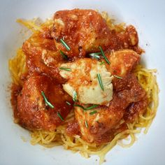Spaghetti squash and chicken cook together along with your favorite marinara/pasta sauce in this easy slow cooker meal.