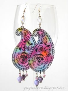 Shrink plastic paisley earrings, could also tangle rather than stamp.