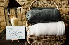 Blankets Cosy Decor Chic Country Cotswolds Barn Wedding http://annabphotography.co.uk/