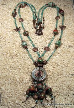 Jewelry Paper Bead Necklace  Irish Waxed by PassionForPaperBeads, $45.00