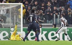 Juventus 3 Olympiakos 2 in Nov 2014 at Juventus Arena. Paul Pogba scores the winner on 66 minutes in Group A of the Champions League.