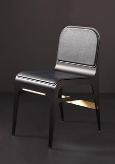 Bardot Side or Dining Chair in Customizable Leather Upholstery & Metallic Accent