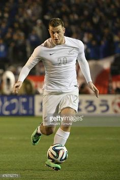 Chris Wood of New Zealand competes for a ball during the Kirin Challenge Cup match between Japan and New Zealand at the National Stadium on March 5...