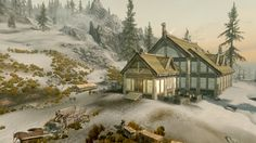 Heljarchen Hall is a homestead which can be built on land purchased in The Elder Scrolls V: Hearthfire.