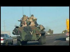 "Fully Loaded Military Vehicles On the Move In California, Conditioning of the Public https://youtu.be/4XDjSAcCO8k Reminding the slaves that ""resistance is futile."""
