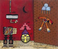 Alan Davie- Hopi Studies No.22, 1990 American Indians, Native American, Alan Davies, Abstract, Gouache, Image, Art, Stone, Summary