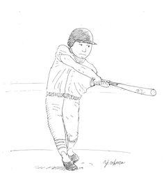 I sketched a batter in 5 minutes by the ball-point  pen (Mitsubishi uni-ball Signo RT1  0.38).