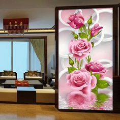 30*56 cm de la Costura 5D Diy Diamante Pintura Diamante de punto de Cruz Rosa Rosa Bordado de La Flor de Impresión Vertical de Rubik cubo de Perforación