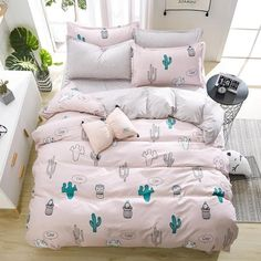 birthday present Duvet Cover flat Bed Sheet linen pillowcase Bedding Sets Full King Twin Queen size 1 Queen Bedding Sets, Luxury Bedding Sets, Bed Duvet Covers, Duvet Cover Sets, Family Bed, Cute Bedding, Black Bed Linen, Bed Springs, Bed Linen Design
