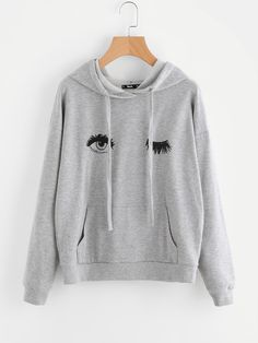 Shop Wink Eye Print Kangaroo Pocket Front Hoodie online. SheIn offers Wink Eye Print Kangaroo Pocket Front Hoodie & more to fit your fashionable needs.