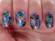 Shatter Mosaic: OPI Silver Shatter, OPI Turquoise Shatter, OPI Blue Shatter, OPI Super Bass Shatter, OPI Pink Shatter, OPI Black Shatter, Sally Hansen Wet Cement