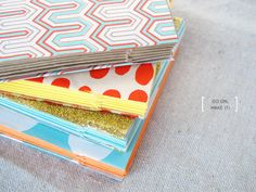DIY Notebooks!!!  So cool!  -Will be great when kids want to make books... will save so much tape and no staples!