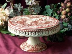 CAKE PLATE PORCELAIN RED