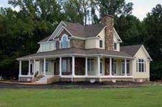 Love farm houses with wrap around porches!