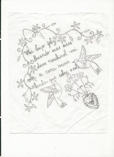 lenco-dos-namorados_ Embroidery Stitches Tutorial, Embroidery Motifs, Diy Crochet, Needlework, Stencils, Sewing, Crafts, Handmade, Stitching