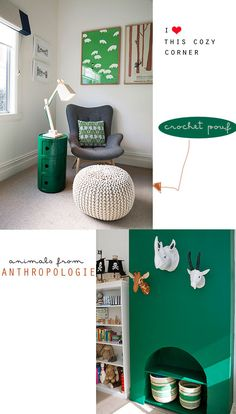 Green Nursery! My favorite. Love the white animal heads on solid colored walls