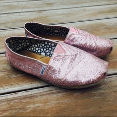 Pink Glitter TOMS Worn once, excellent condition. Ships Immediately! TOMS Shoes Sneakers