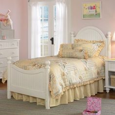 From hosting tea parties to reading fairy tales a princess's day can get pretty hectic. That's where the Westfield Panel Poster Bed comes in. A dream to sleep in this traditional four-poster bed is crafted in a country-cottage style and features pretty beadboard panels sturdy posts and large rounded post finials. Finished in a perfectly charming cottage white it's constructed from durable wood composite that will retain its beauty through her ent