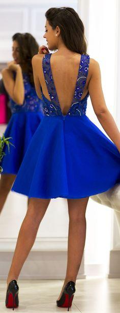 Klein Blue Embellished Open Back Skater Dress