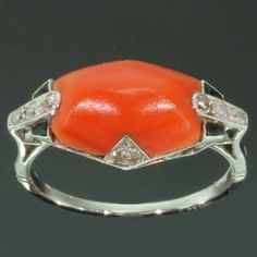 Art Deco ring - with diamonds coral and onyx