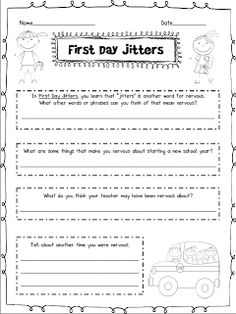 FREE First Day Jitters worksheet!  A great way to start off the year!