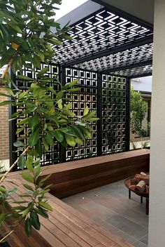 Metal decor privacy screen painted black.
