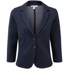 Pure Collection Dalebury Jersey Blazer, Navy Spot (€89) ❤ liked on Polyvore featuring outerwear, jackets, blazers, plus size navy blue blazer, womens plus size blazers, blazer jacket, blazers jersey and navy blazer