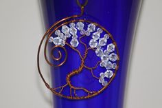 Copper wire tree with transparent polished by DeaJewelleryStore