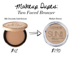 """MAKEUP DUPES: TWO FACED BRONZER"" by seasaltsara on Polyvore featuring beauty and Too Faced Cosmetics"