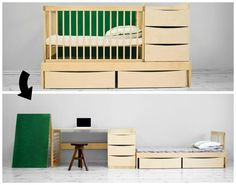 "The multifunctional furniture set ""Smart Kid"" from Adensen Furniture can be used for a long time. The set includes a crib, storage drawers and a changing table."