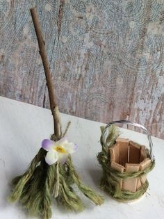 Fairys Work Bucket and Mop, each one of a kind ~ hand crafted~ Find Olive Nature Folklore under the following search terms: fairy garden kit miniatures for fairy gardens fairy garden house outdoor fairy house miniature fairies garden fairies miniature fai